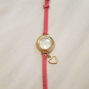 Coach watch with heart dangle